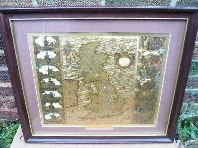 JONNES JANSSON  FOIL FRAMED 1646  MAP OF THE BRITISH ISLES  27
