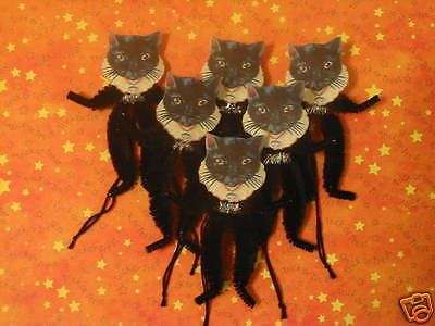 PRIMITIVE VINTAGE STYLE HALLOWEEN CAT ORNAMENTS CHENILLE FEATHER - Halloween Feather Tree