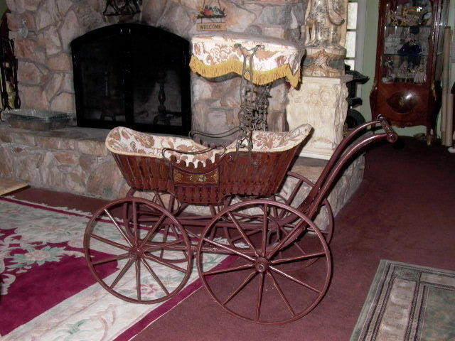 Antique Victorian Baby Carriage Buggy with Canopy