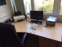 Large Beech Office Desk and matching Stationary Cupboard