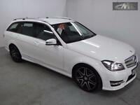 MERCEDES C CLASS C220 CDI BLUEEFFICIENCY AMG SPORT PLUS ESTATE, White, Auto, Die
