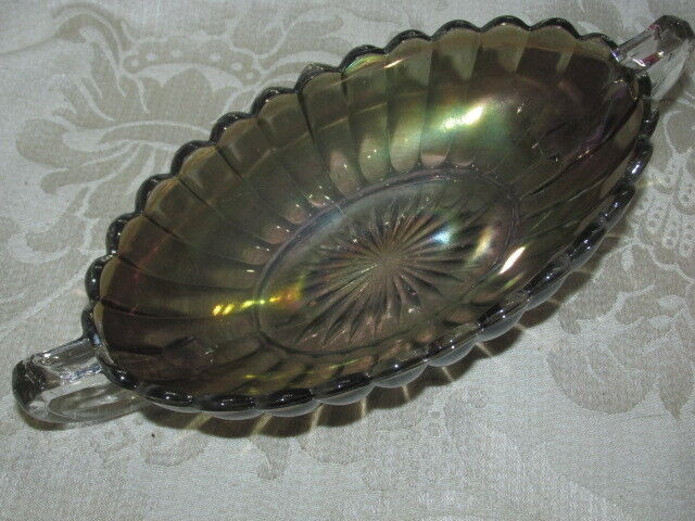 Vintage Black Amethyst Carnival Green Glass Trough Footed VASE / BOWL 20CmW