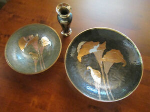 Brass and enamel plates and vase