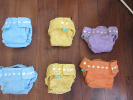 Reusable nappies, shaped nappy bundle from Tots Bots size 1, mix of colours