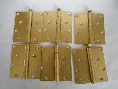 4' Steel Hinge Pin - LAWRENCE SATIN BRASS STEEL 4 X 3-3/4 DOOR HINGE LOT OF 6 BLEM REMOVABLE PIN
