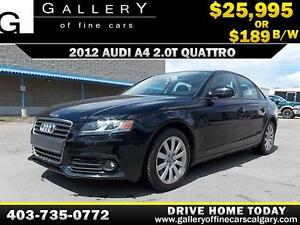 2012 Audi A4 2.0T QUATTRO $189 bi-weekly APPLY NOW DRIVE NOW