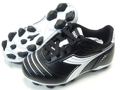 Diadora Cattura MD JR Youth Soccer Cleats Black White Shoes Toddler Kids  Size 12 c8ccfd9c075