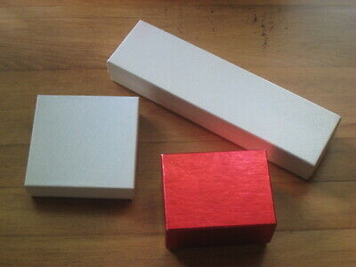 3 Different Size Jewelry Boxes 2 White 1 Red Gold