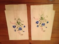 Set TWO Vintage Linen Embroidered(Broderie) Tea Towels.