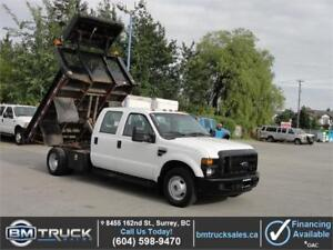 2009 FORD F-350 SUPER DUTY CREW CAB FLAT DECK DUMP TRUCK LOW KM