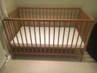 (Never Used) Cuggl Oak Cotbed, Foam Cot Bed Mattress, & Cuddles Collection Cot Sheets