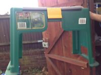 GARDEN TOOL BOX WITH SEAT AND TOOLS