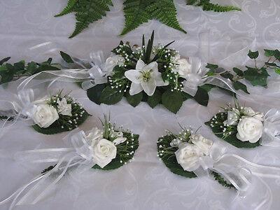Tischdeko Set Ehrenplatz weiß/grün Lilien Hochzeit Konfirmation Kommunion