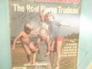 Signed Justin and Pierre Trudeau mag. cover + more collectibles Cornwall Ontario image 2