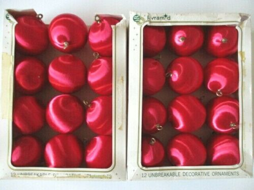 """24 Vintage Pyramid Unbreakable Red Ornaments Christmas Satin 2.75"""""""
