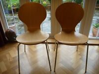 2 Stackable Beech & Chrome Chairs