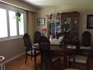 Beautiful Peppler Dining Table , 6Chairs and 2 PC. China Cabinet