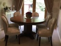 Solid Dark Oak Dining Table and 6 Bespoke Chairs - As New