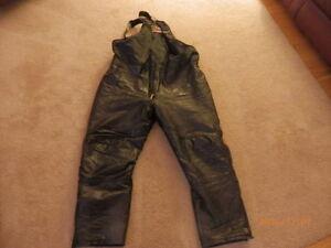 BRP. BLACK   LEATHER  SNOWMOBILE PANTS