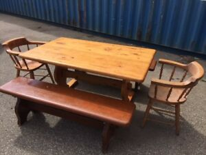 Solid pine antique kitchen table set