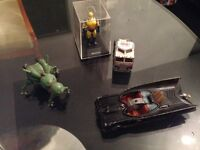 old collectibles, toys and figures, bat mobile, Star Wars, return of the Jedi he man, marvel