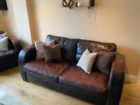 4 Piece Chocolate Brown Leather Sofa Bed Suite