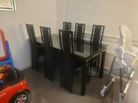 Black Glass Dining Table Set with 6 Chairs with Mechanical Extension