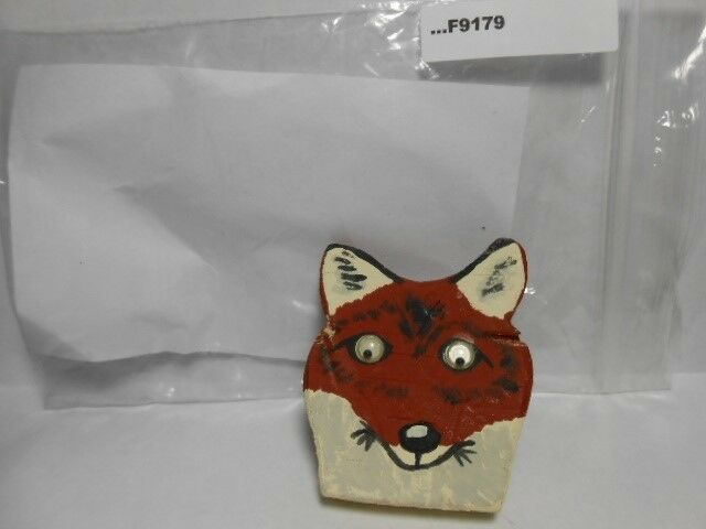 WOODEN FOX PAINTED AND MOVING EYES F9179