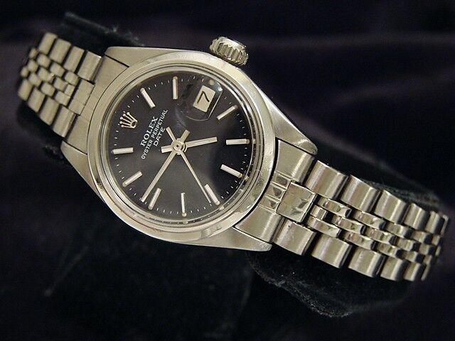 Rolex Oyster Perpetual Date Ladies Stainless Steel Watch Jubilee Black Dial 6916