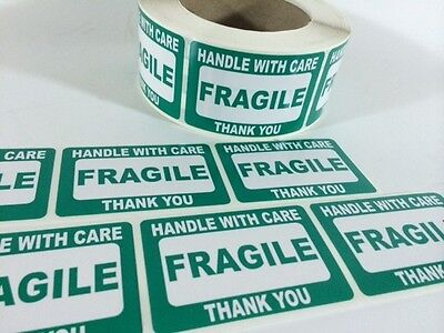 250 2x3 Fragile Green Self Adhesive Handle With Care Stickers Shipping Labels