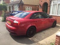 Red 2002 Audi A4 Saloon 2.0 petrol 4DR Manual RS4 Replica S4 Alloys body kit wide arch sports spares