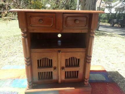 TV cabinet Chocolate Wood dark wood rustic side cupboard + items