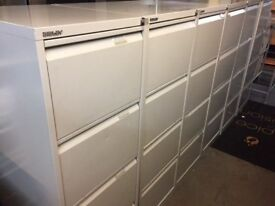 Grey 4 drawer Bisley filing cabinet with key