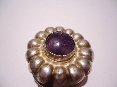 VINTAGE MEXICO STERLING SILVER TRINKET PILL BOX AMETHYST GEMSTONE HINGED MARKED