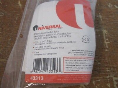 Qty 23 Universal 43313 Hanging File Folder Plastic Insertable Clear Tab Dividers