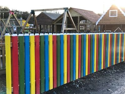 Wooden Coloured Childrens Picket Fencing, custom, garden, school, timber fence