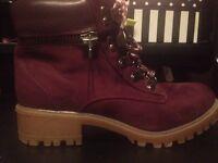 Womens/girls Burgundy boots - new look