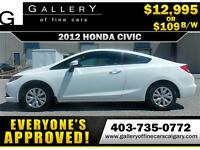 2012 Honda Civic LX Coupe $109 bi-weekly APPLY NOW DRIVE NOW