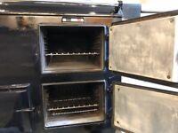 Black AGA gas cooker, serviced, new burner, for sale