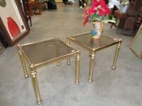 Gold Coloured / Glass Coffee Table