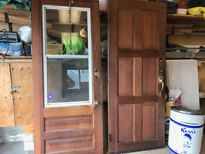2 solid cedar wood doors
