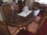 Dining Table and 6 cushioned chairs - extendable, dark polished wood, unmarked,