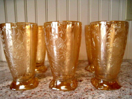 Floragold Louisa Tumbler Jeanette Glass Co Iridescent Depression Glass Set Of 6