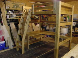 REDUCED AGAIN - Double Solid Wood Bed Frame and Desk