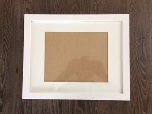 White grained decorator picture frames (14) with glass and mats