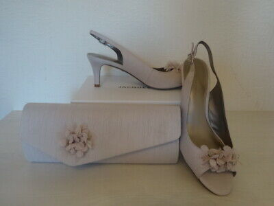 JACQUES VERT RUFFLE SPARKLE SHOES AND MATCHING BAG  -NEUTRAL SIZE 4 -NEW
