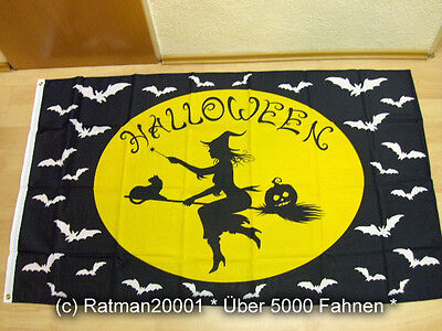 Fahne Flagge Halloween Fledermaus Hexe - 90 x 150 - Halloween Fledermaus
