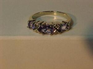 #1315-NATURAL TANZANITE & DIAMOND(4) DRESS RING Size 7 5/8-APPRAISED $1,550.00 SELL-$425.00 FREE EXPRESS SHIPPING-