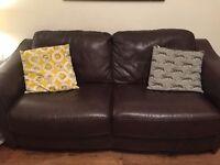Two John Lewis Brown Leather Sofas