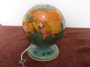 Vintage Globe Bank - with the orginal key